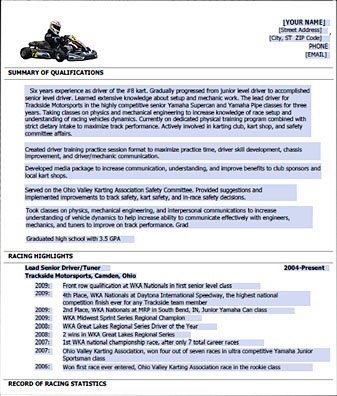 Racing Resume Template