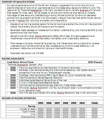 Racing Resume Template Kart Parts Buy Or Sell Driving Tips Karts Tech